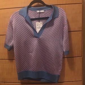 NWT Zara Knit Collection Pink and Teal Sweater